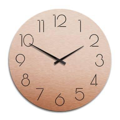 Horloge murale XXL en Alu-Dibond - Cuivrée - Moderne avec chiffres -  Ø 70 cm