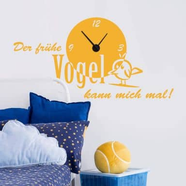 Sticker mural - Horloge L'oiseau matinal