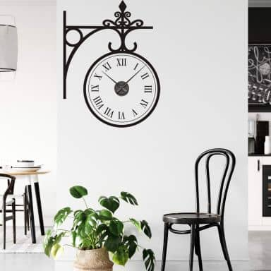 Antique Station Wall sticker + Clock