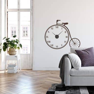 Sticker mural - Horloge rétro vélo