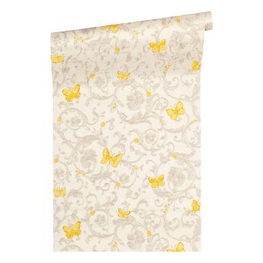 Versace wallpaper non-woven wallpaper Butterfly Barocco cream, yellow, metallic