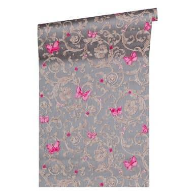 Versace wallpaper non-woven wallpaper Butterfly Barocco grey, metallic, purple