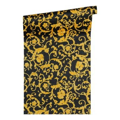 Versace wallpaper non-woven wallpaper Butterfly Barocco yellow, metallic, black