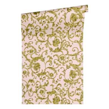 Versace wallpaper non-woven wallpaper Butterfly Barocco green, metallic, pink