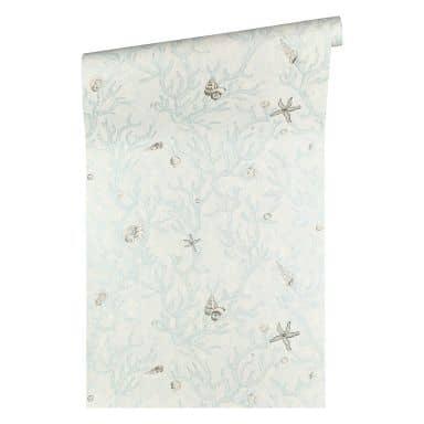 Versace wallpaper non-woven wallpaper Les Etoiles de la Mer blue, metallic