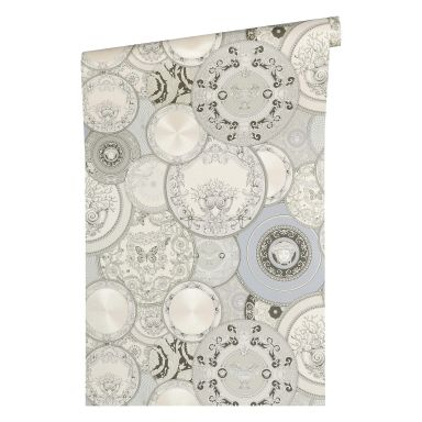 Versace wallpaper non-woven wallpaper Les Etoiles de la Mer 2 grey, metallic, white