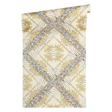 Versace wallpaper non-woven wallpaper Vasmara cream, grey, metallic