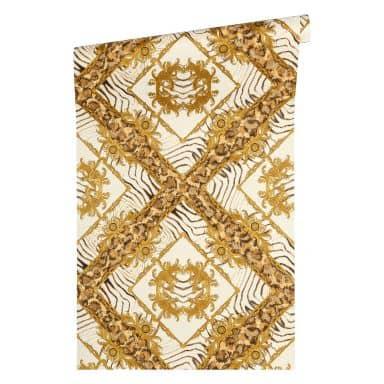 Versace wallpaper non-woven wallpaper Vasmara brown, cream, metallic