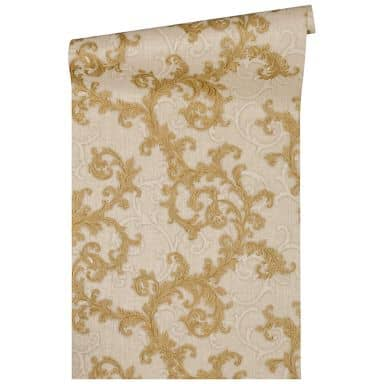 Versace wallpaper non-woven wallpaper Baroque & Roll beige, cream, metallic