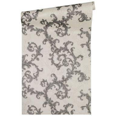 Versace wallpaper non-woven wallpaper Baroque & Roll grey, metallic, white