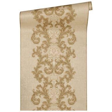 Versace wallpaper non-woven wallpaper Baroque & Roll beige, metallic