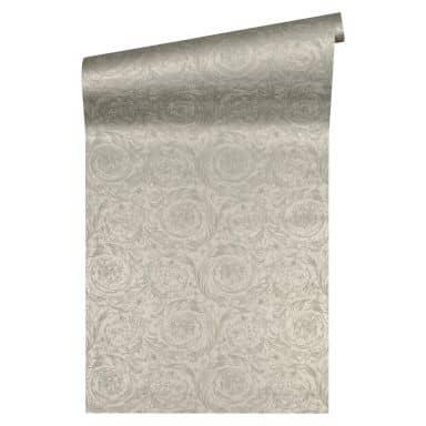Versace wallpaper Vliestapete Barocco Metallics Barocktapete mit Ornamenten silber, grau
