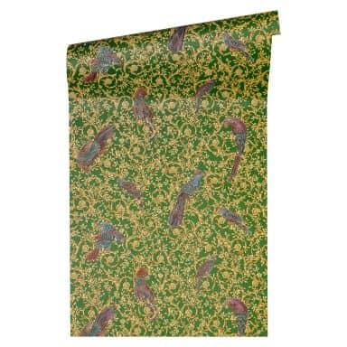 Versace wallpaper Vliestapete Barocco Birds Barocktapete mit Vögeln gold, grün, violett