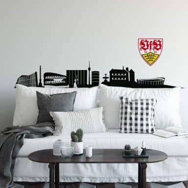 Wandtattoo VfB Stuttgart Skyline mit Logo farbig