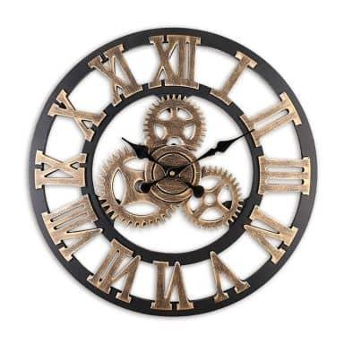 Vintage Wood Wall Clock Gear Design Black Gold Ø40cm