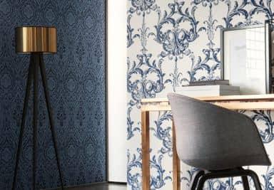 Architects Paper Textiltapete Tessuto Barocktapete mit Ornamenten blau
