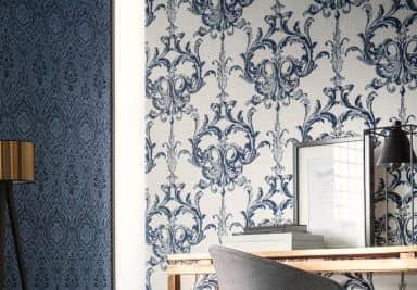Architects Paper Textiltapete Tessuto Barocktapete mit Ornamenten blau, weiß