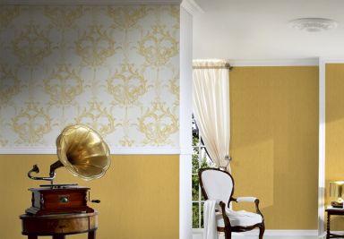 Architects Paper pattern wallpaper textile wallpaper Tessuto 2 yellow, white