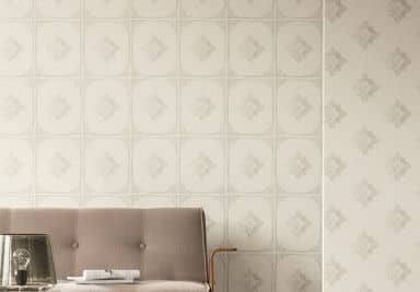 Architects Paper pattern wallpaper textile wallpaper Tessuto 2 cream, grey