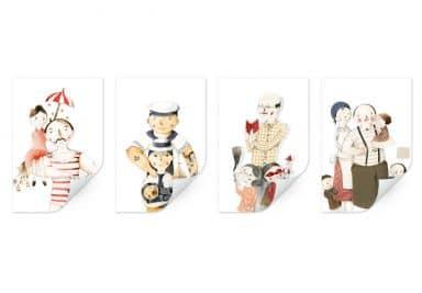 Wallprint Loske - Familien Porträts (4-teilig)
