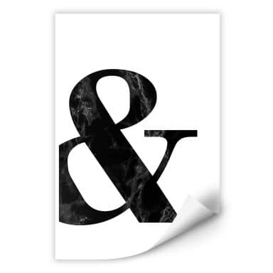 Wallprint Black Marble Ampersand