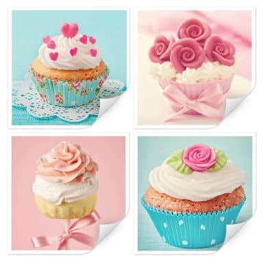 Wallprint W - Cupcakes Set (4-teilig)