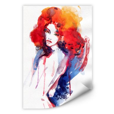 Wall print W - The woman with the fire red hair