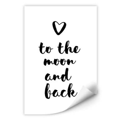 Zelfklevende Poster Love to the moon and back