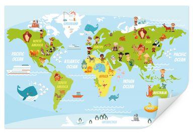 Wallprint Lustige Kinder Weltkarte