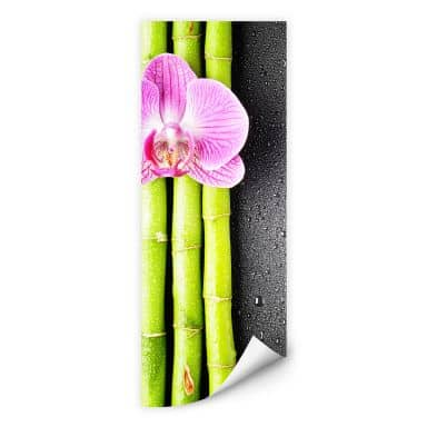 Wall print - Orchid and Bamboo - Panorama (vertical)
