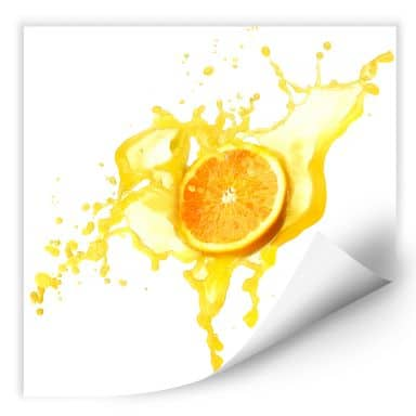 Wall print W - Splashing Oranges - quadratic