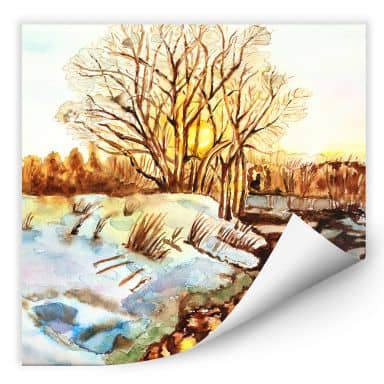 Wallprint Toetzke - Goldener Winter - quadratisch