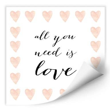 Wallprint Confetti & Cream - All you need is love