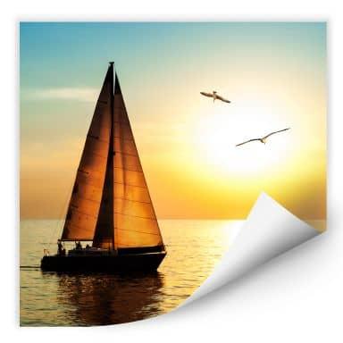 Wallprint W - Segelboot im Sonnenuntergang - quadratisch