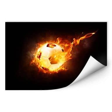 Wallprint Fußball in Flammen
