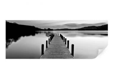 Wall print Lake Panorama - black/white