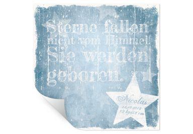 Wallprint Wunschtext + Name - Sterne fallen nicht vom Himmel (blau)