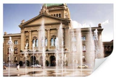 Wallprint Wasserspiel vor Schweizer Parlamentsgebäude