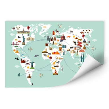 Zelfklevende Poster  Travel the World