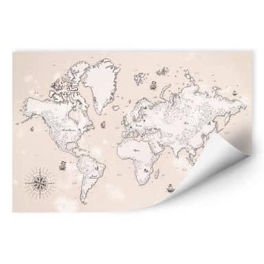 Wallprint Weltkarte - Aus vergangenen Zeiten