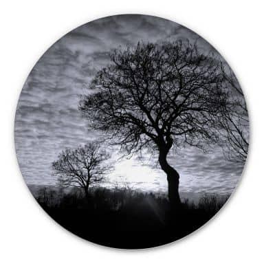 Wandcirkel Alu-Dibond Black and White Sunset
