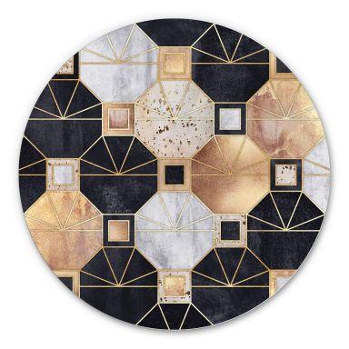 Alu-Dibond Fredriksson - Art Deco: Gold und schwarz - Rund