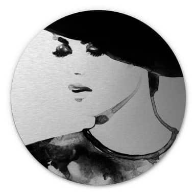 Alu-Dibond mit Silbereffekt Fashion Victim - Rund