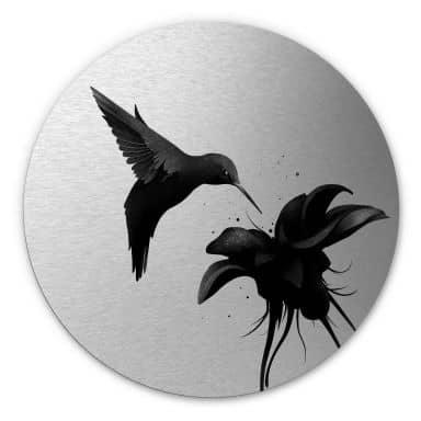 Alu-Dibond round silver effect - Ireland - Hummingbird