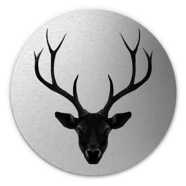 Alu-Dibond mit Silbereffekt Ireland - The Black Deer - Rund