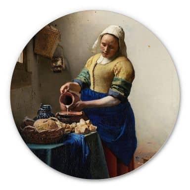 Alu-Dibond Vermeer - Das Mädchen mit dem Milchkrug - Rund