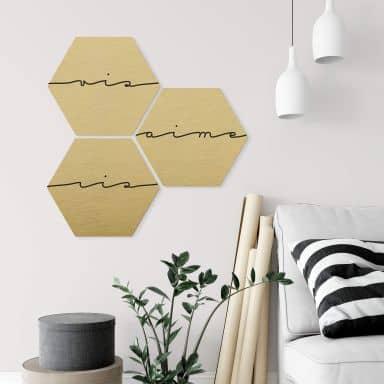 Hexagon - Alu-Dibond-Goldeffekt - Vis ris aime (3er Set)