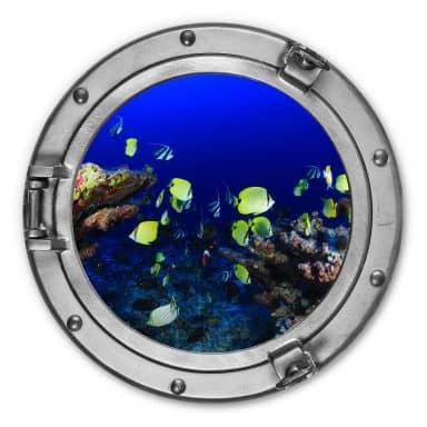Alu-Dibond 3D-Optik Bullauge - Bunte Unterwasserwelt - neongelbe Fische - Rund