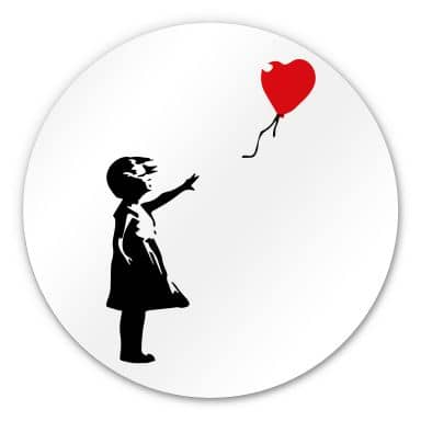 Alu-Dibond round - Banksy - Girl with red balloon