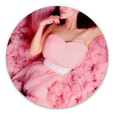 Alu-Dibond - Das rosa Kleid - Rund